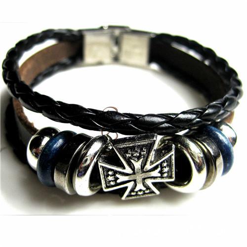 复古十字架首饰潮男个性多层朋克牛皮不锈钢手表扣手链一件代发