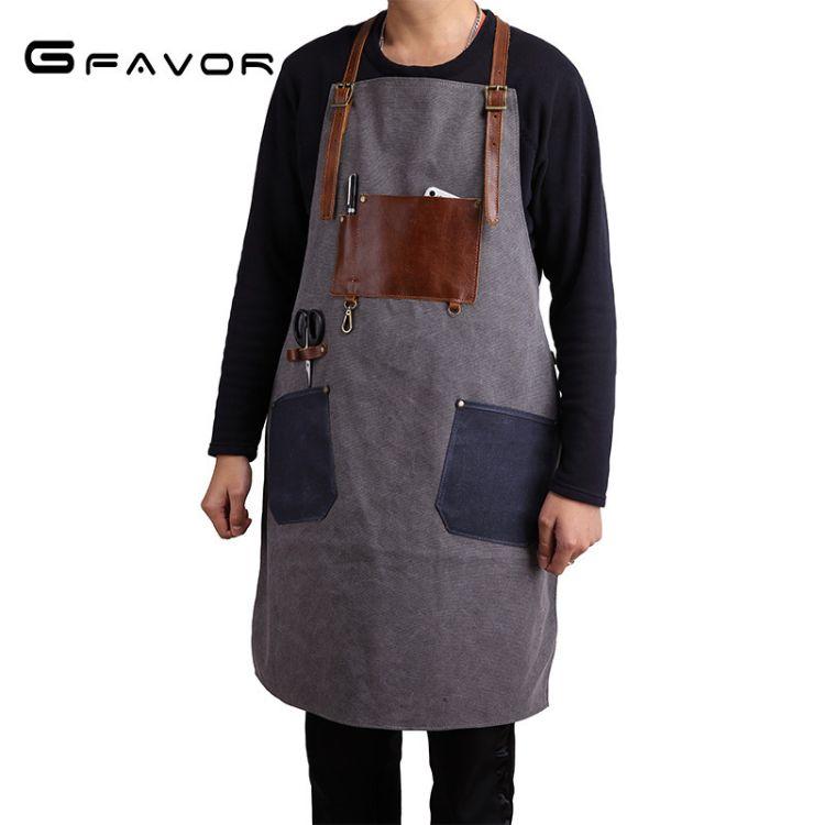 新款工匠设计室帆布围裙复古耐磨全棉帆布咖啡店高档工作室围裙包