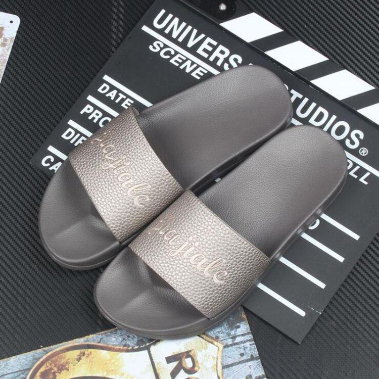 家家乐2017新款皮革拖鞋男夏季韩版家居凉拖鞋男士休闲一字拖软底