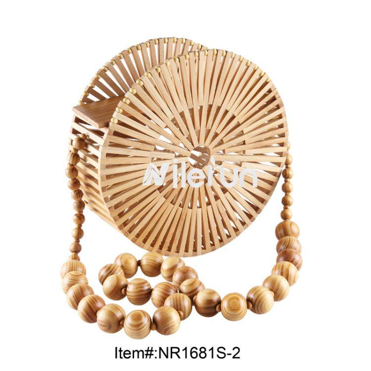 竹木藤草原生态竹丝手工编圆形包包 珠珠长链单肩带竹条斜挎女包