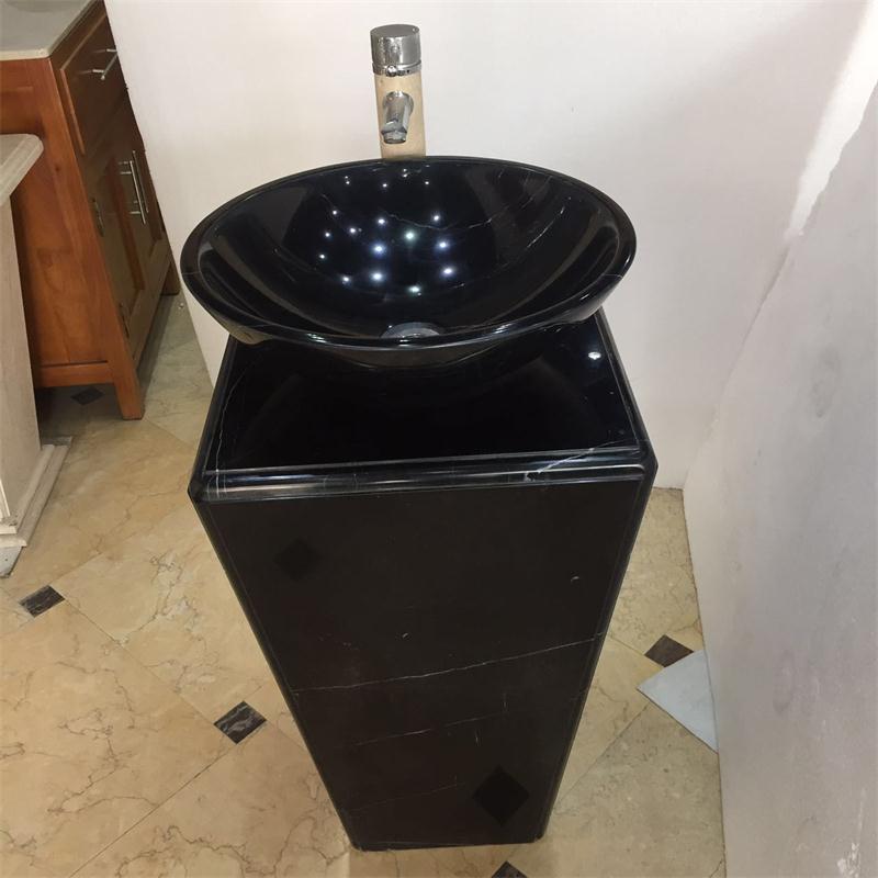 黑白根石材创意艺术卫浴洁具台上盆 设计时尚卫生间立柱盆洗手盆