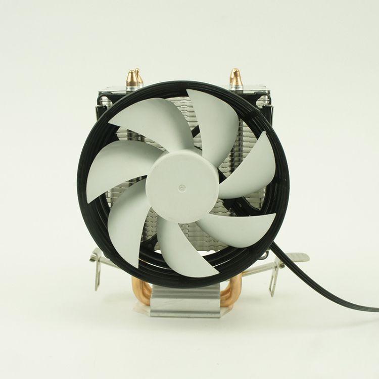 8cm两铜管CPU侧吹散热器intel775 115X AMD/AM 超静音cpu散热风扇