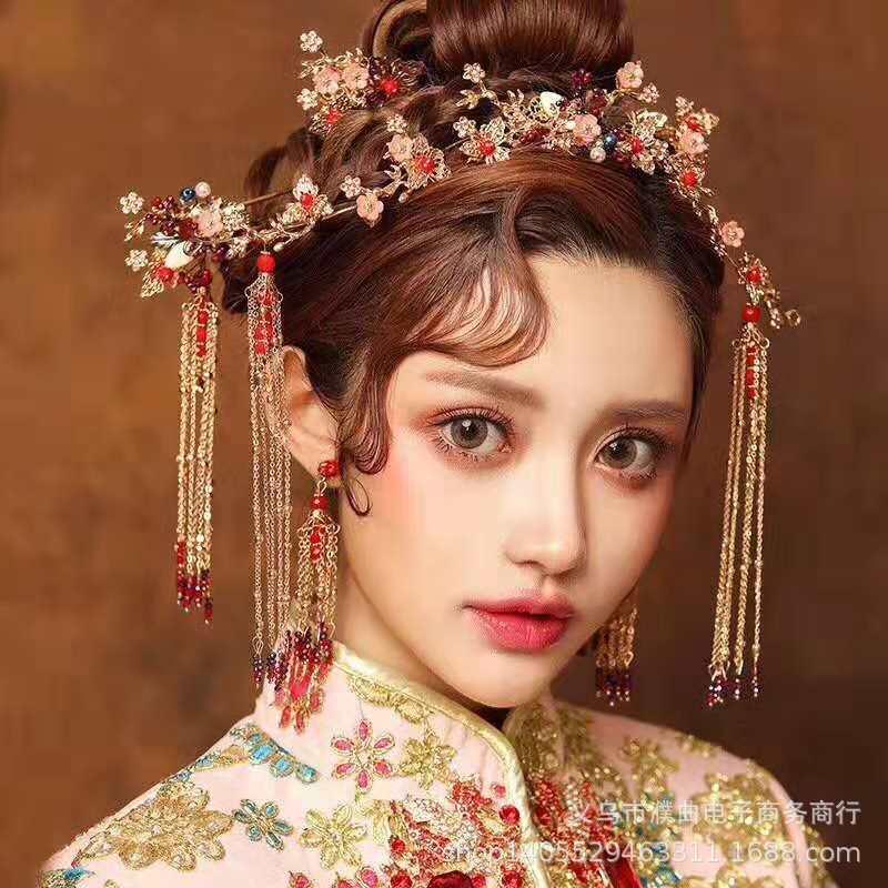 新款复古中式新娘结婚头饰套装古装秀禾服龙凤褂古装发饰品桃花