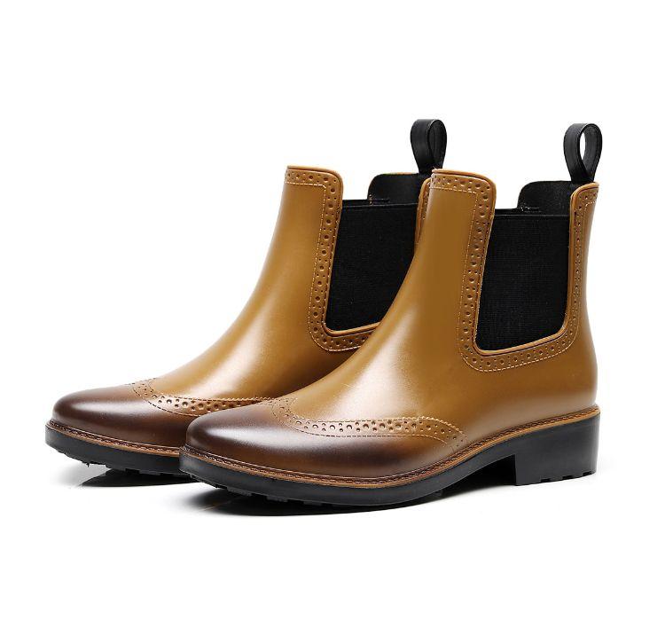 2019出口新款时尚切尔西雨鞋女短筒雨靴防滑高品质水鞋套鞋胶鞋
