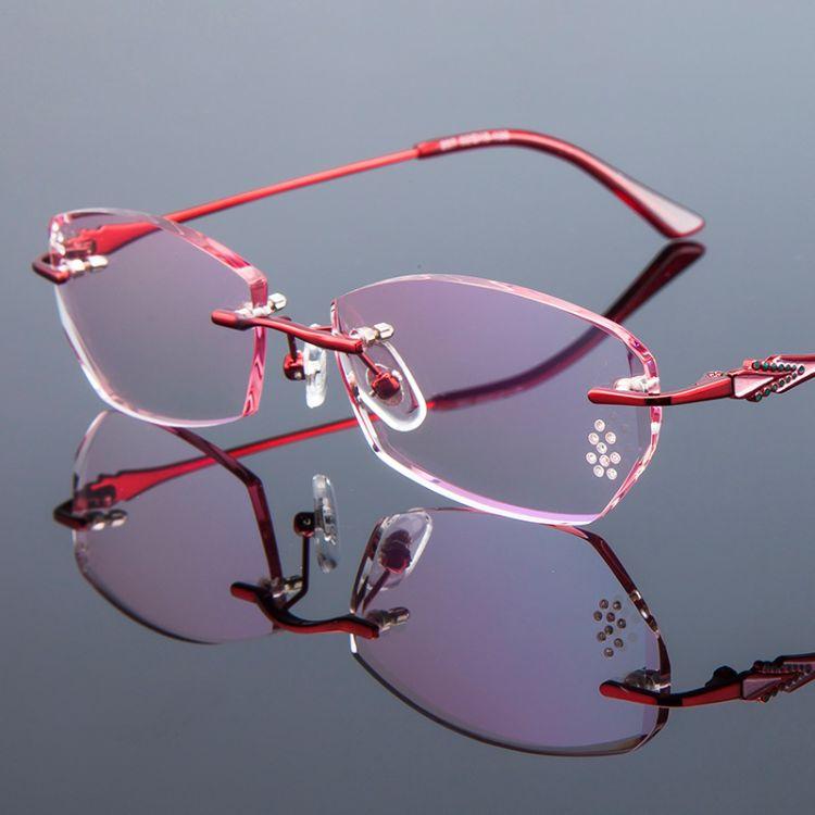 时尚新品钻石切边无框优雅女士眼镜近视装饰休闲