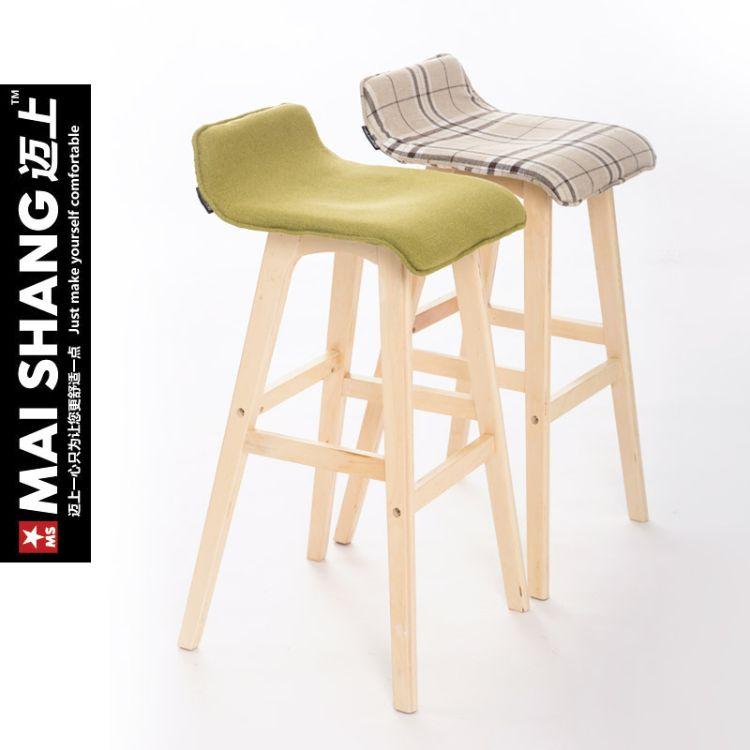 简约实木吧椅休闲高脚椅高凳吧台椅吧台前台椅酒吧桌椅