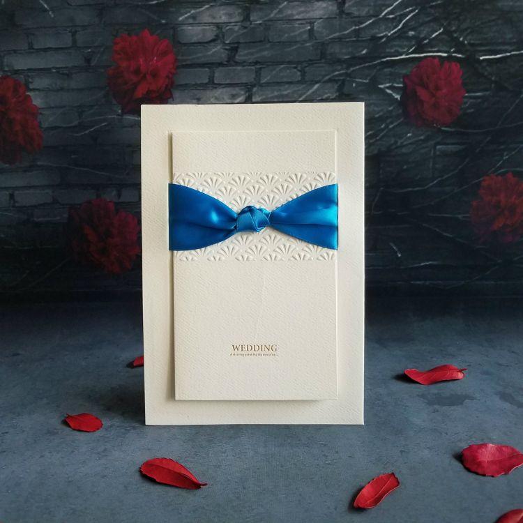 定做宝蓝色装饰婚礼贺卡结婚喜帖商务邀请函请柬请帖婚庆邀请卡