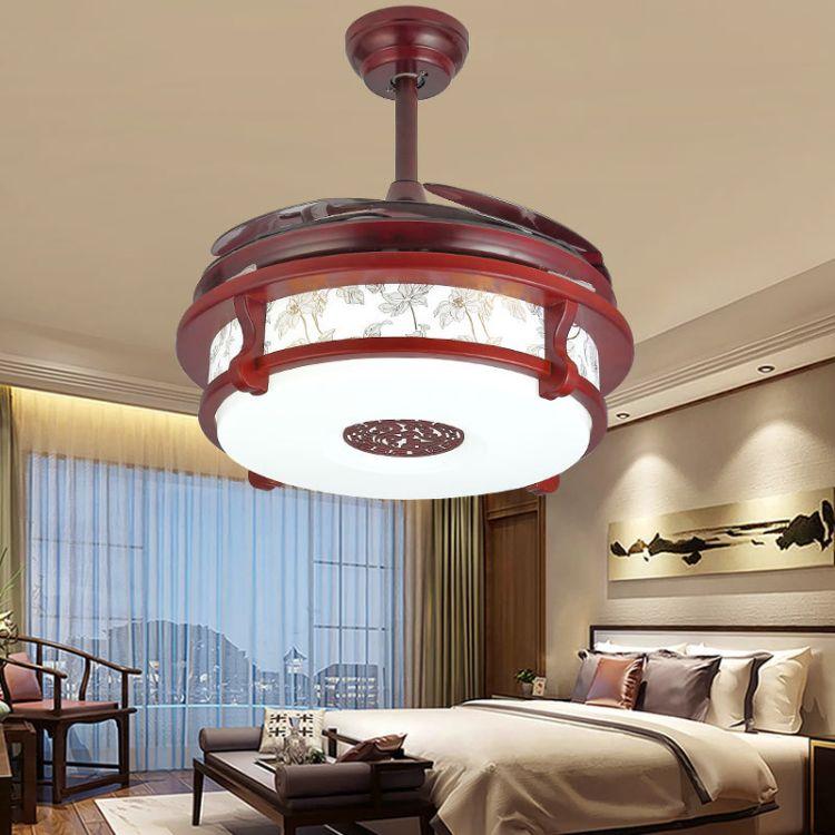 新中式led风扇灯古典木艺吊扇灯隐形静音餐厅卧室酒店实木风扇