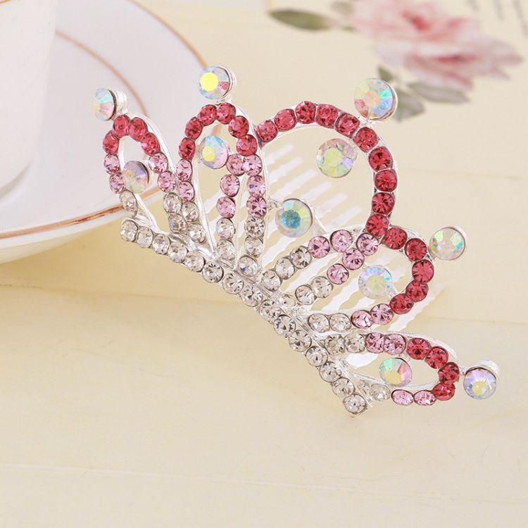 韩国饰品批发儿童渐变深邃水钻公主皇冠头饰盘发装饰女生插梳批发