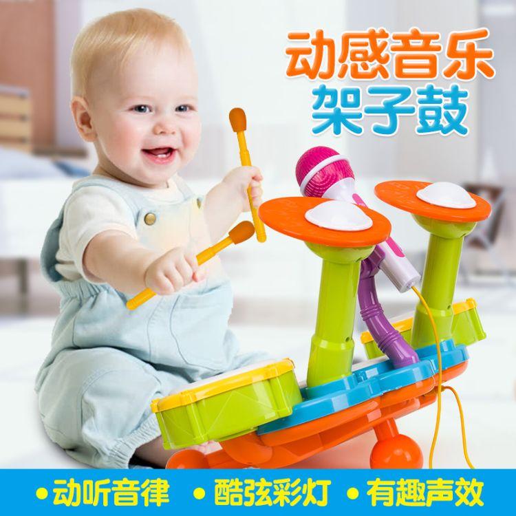 麦迪熊宝宝3-6岁儿童架子鼓爵士鼓敲打乐器儿童玩具电子鼓1-3岁