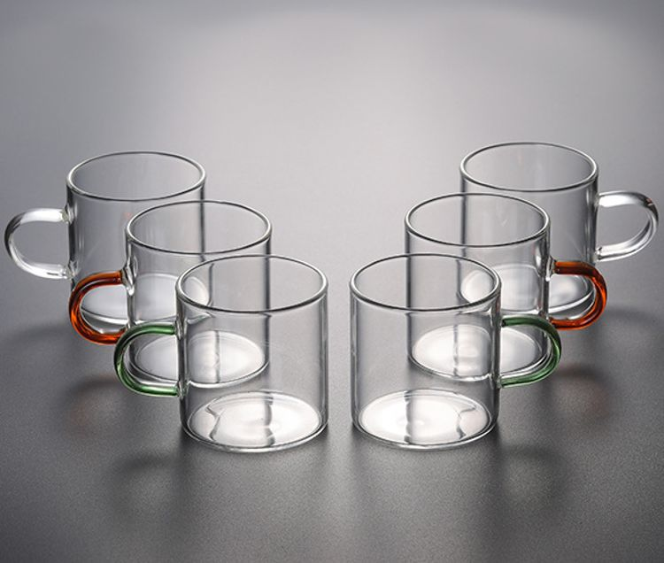 加厚耐热透明玻璃品茗杯小茶杯带把杯功夫茶具主人杯耳杯茶碗家用