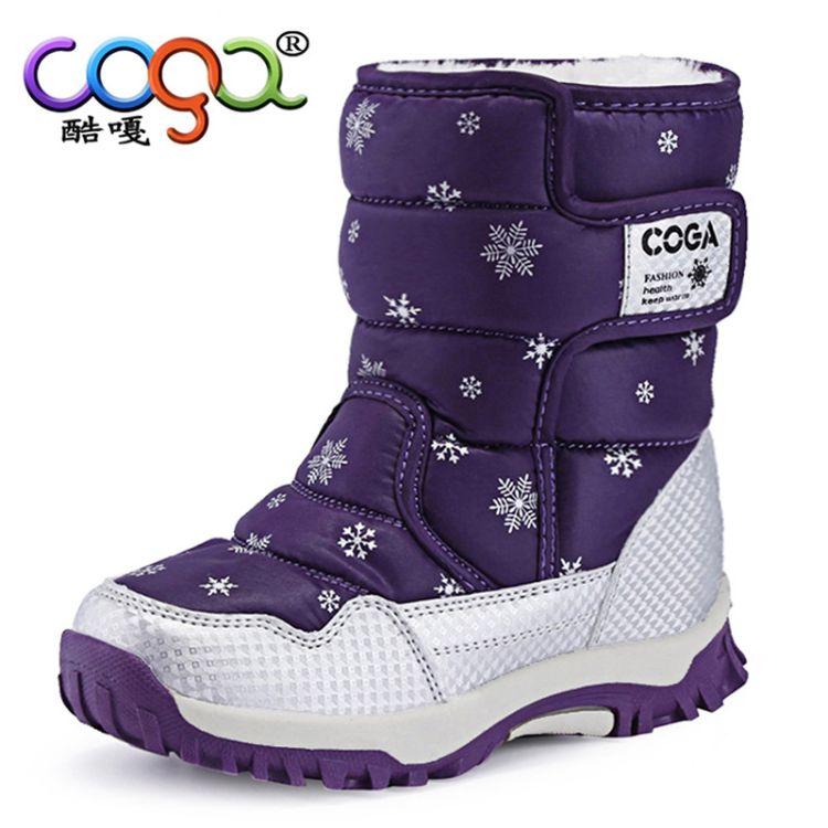 女童靴子加绒儿童棉靴防水2018新款潮短靴冬季雪地鞋加厚冬靴童鞋
