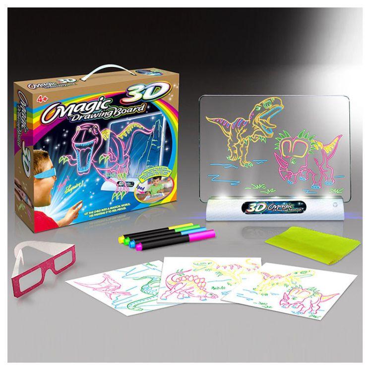 Magic drawing board 3D恐龙太空彩色发光涂鸦夜光荧光灯儿童画板