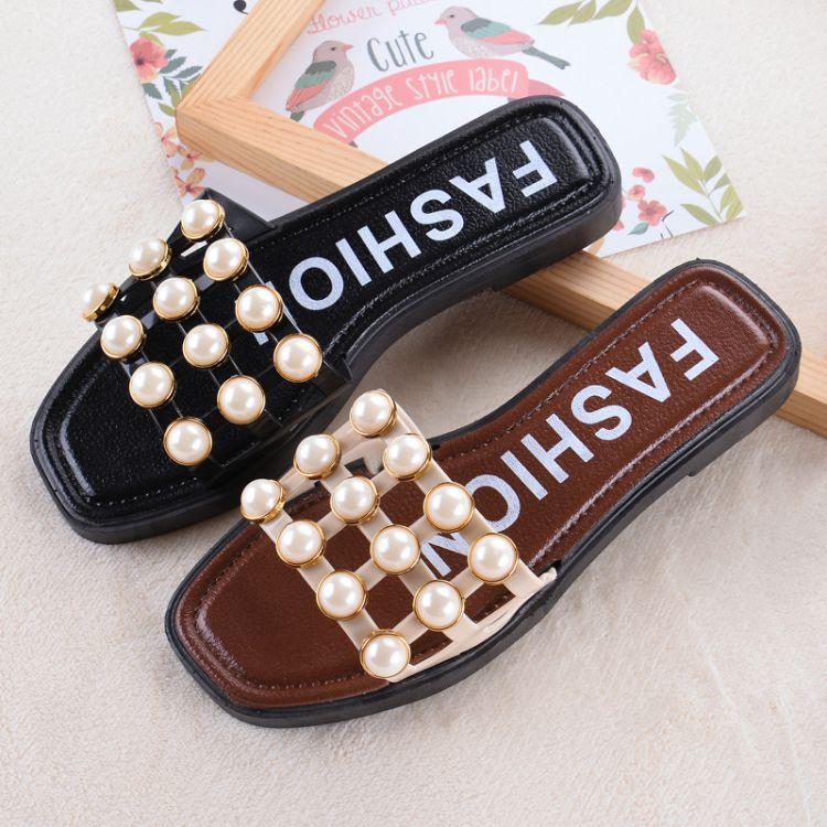 拖鞋女珍珠拖鞋批发2017潮流拖鞋新款时尚方扣同款塑料凉拖鞋