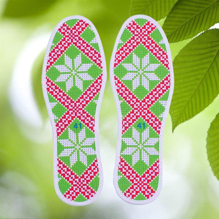 8D八角图纯棉半成品精准印花多层白色底十字绣鞋垫女正格手工刺绣