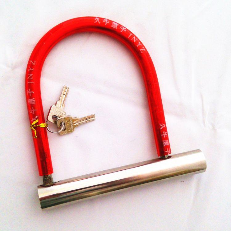 铁链钢缆山地车锁卡通钛金挂锁卷闸门锁【畅卖】光管U型电动车锁