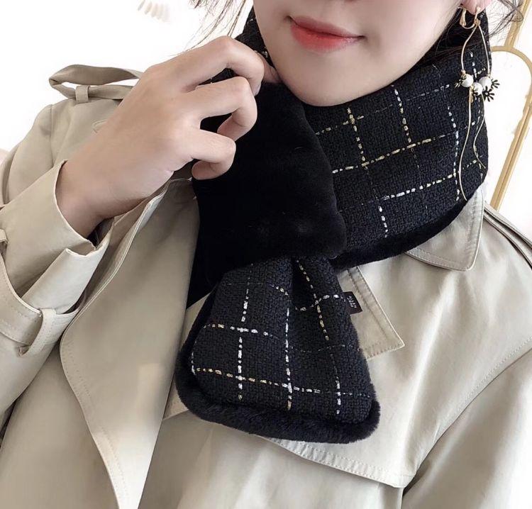 格子毛绒围脖韩版秋冬保暖加厚加绒仿兔毛围巾女交叉拼接毛毛围巾