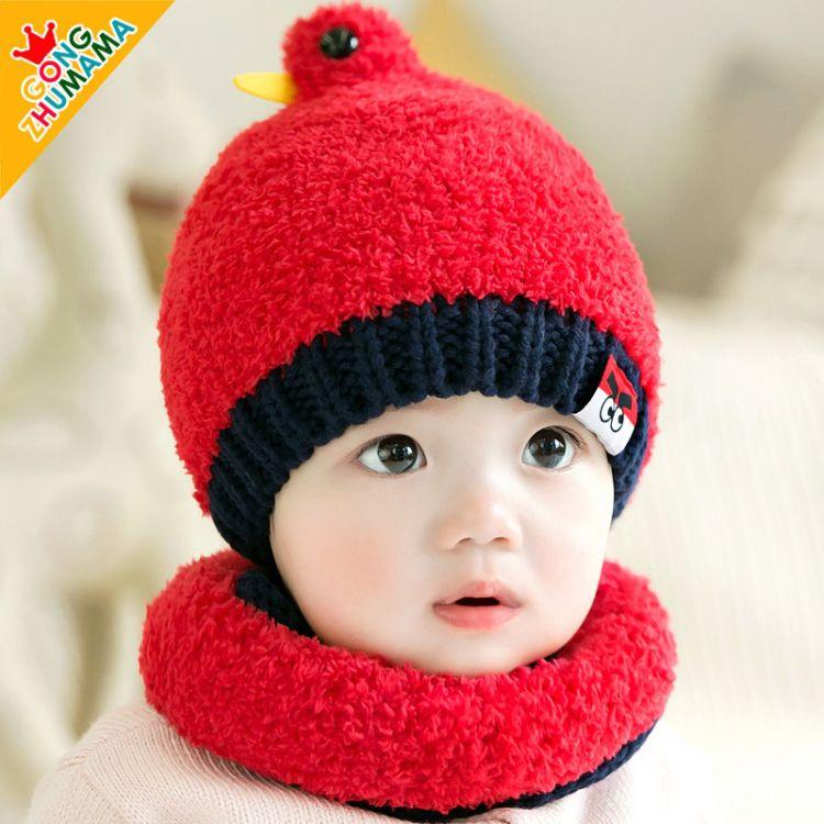 婴儿帽秋冬 可爱小鸟婴儿帽子宝宝毛线帽 毛绒帽子围巾二件套