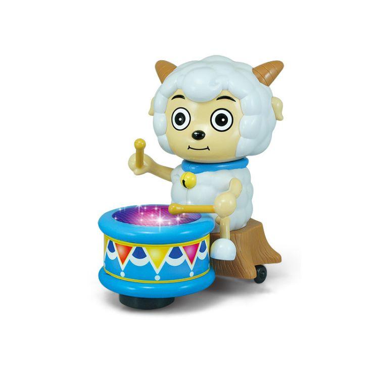 正版 喜羊羊与灰太狼 喜羊羊打鼓玩具车充电电动万向轮儿童玩具