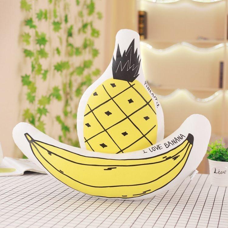 ins北欧风香蕉菠萝抱枕沙发靠垫儿童房卧室飘窗饰品全棉宝宝玩偶