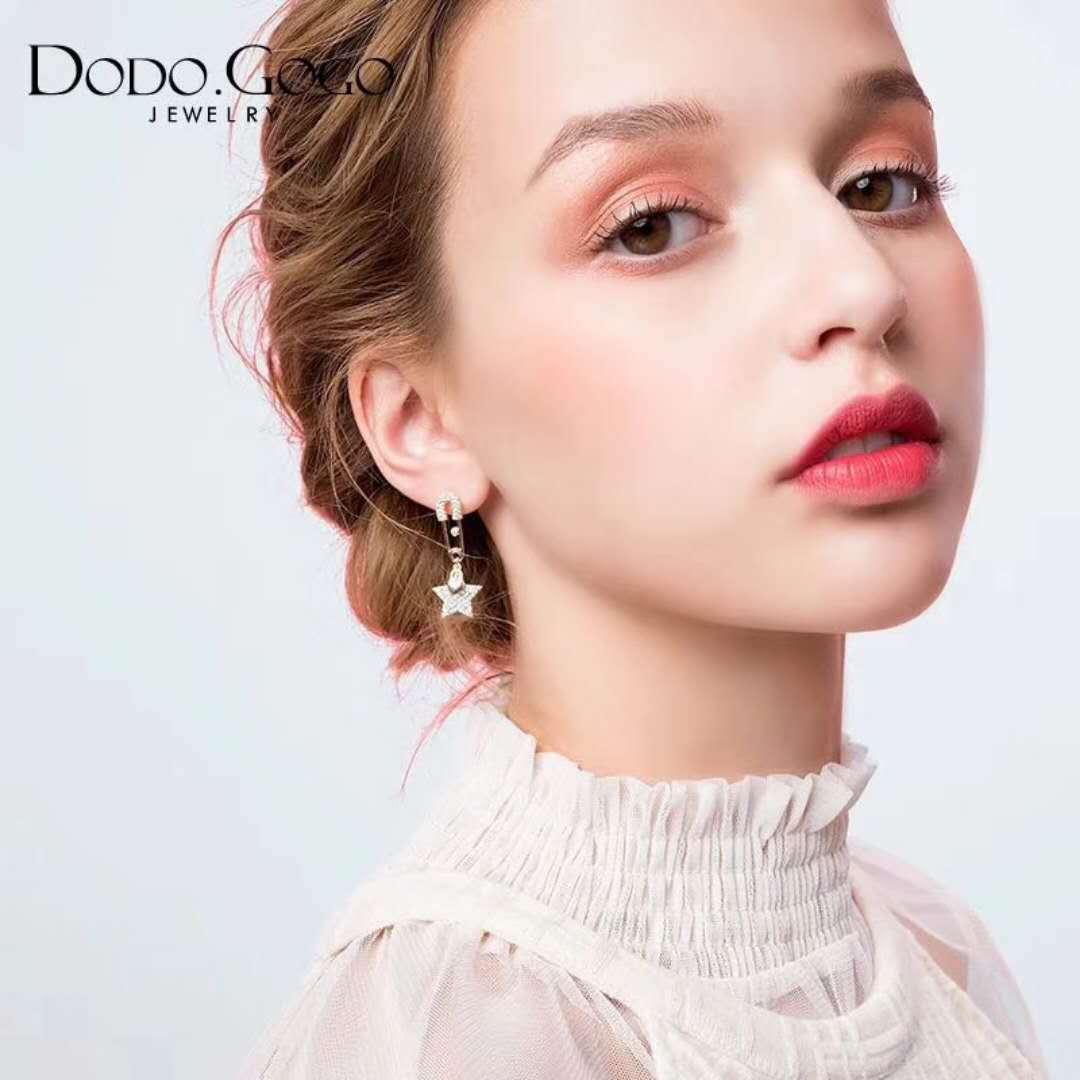韩国时尚气质个性五角星星时尚耳环气质S925银针百搭长款别针耳钉
