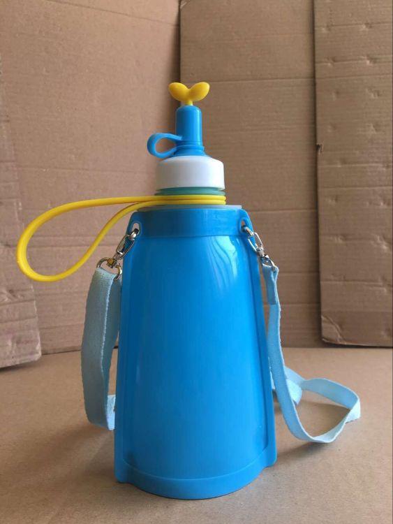 韩国同款硅胶水壶儿童运动携带水壶 便携折叠运动水壶 防漏水