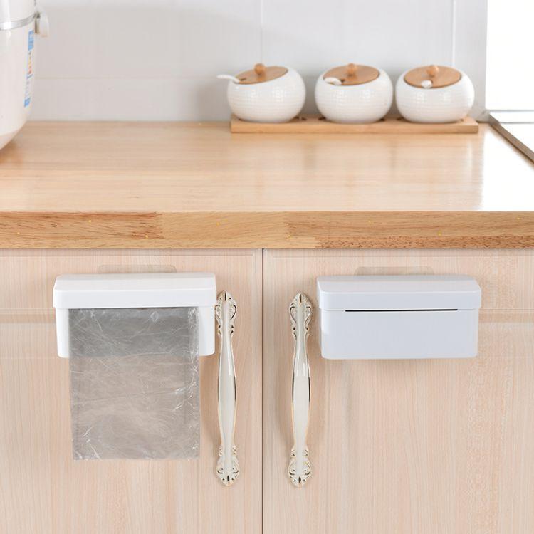 造極百貨-廚房廁所跨境貨源莫蘭迪純色塑料pp無痕貼壁掛式垃圾袋整理收納盒