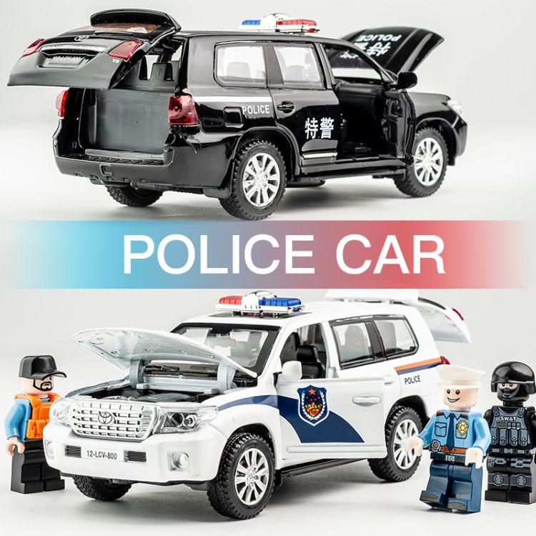 玩具车警车合金车模建元1:32开门回力仿真儿童玩具车男孩汽车模型