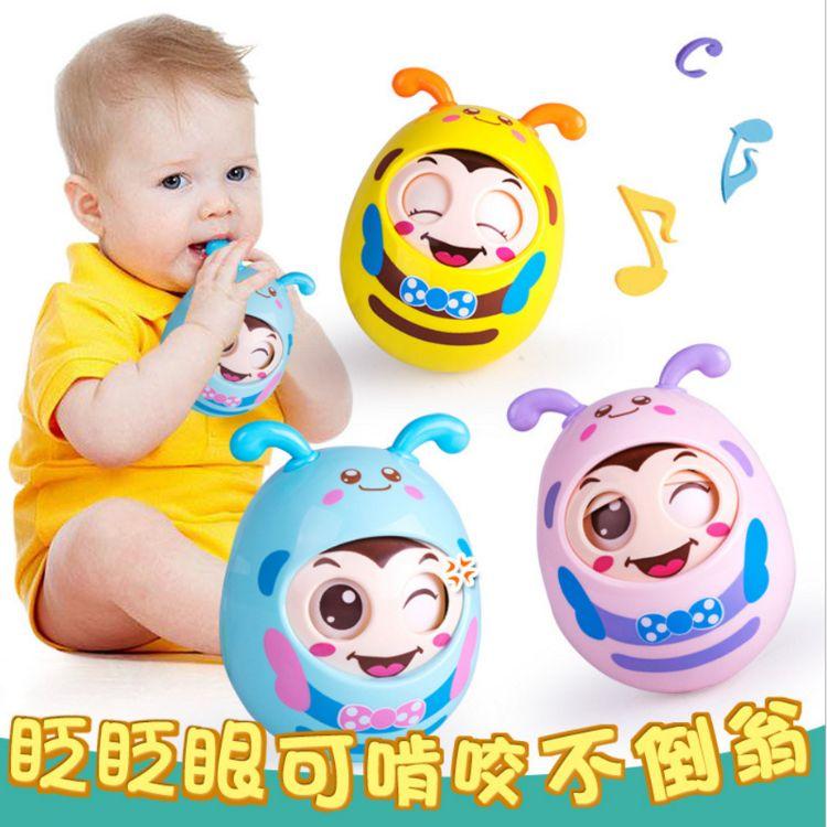 婴幼儿卡通手抓球 儿童益智早教眨眼点头软耳不倒翁 母婴玩具批发