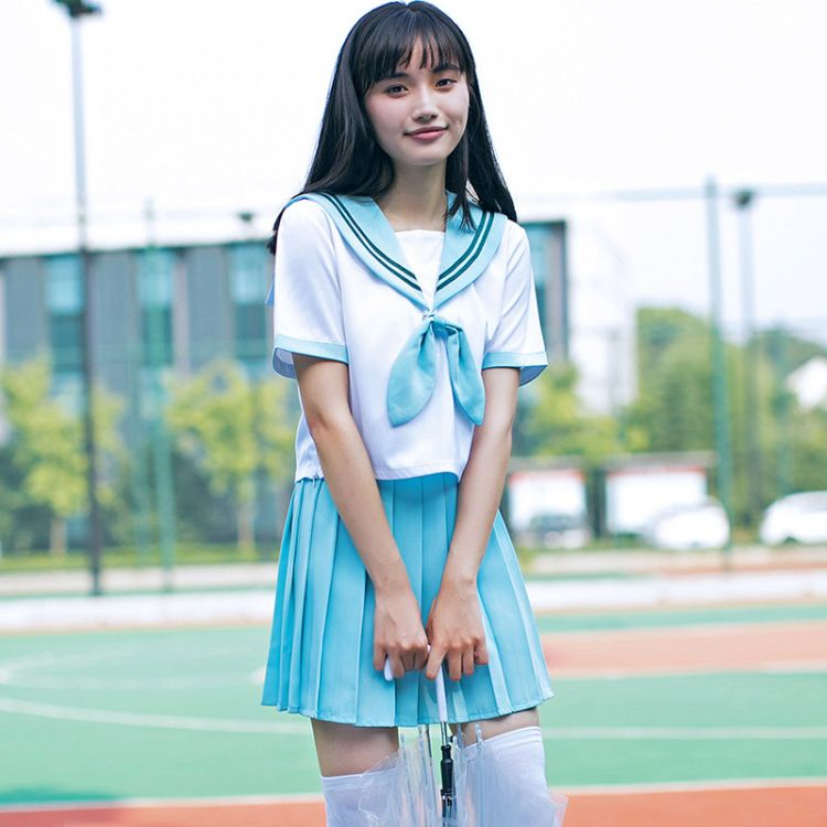 新款日系软妹JK制服薄荷绿cos水手服 关西襟二本女学生校服套装