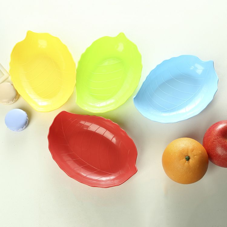 新款家用客厅瓜子零食水果盘树叶型塑料水果盘 时尚干果盘批发