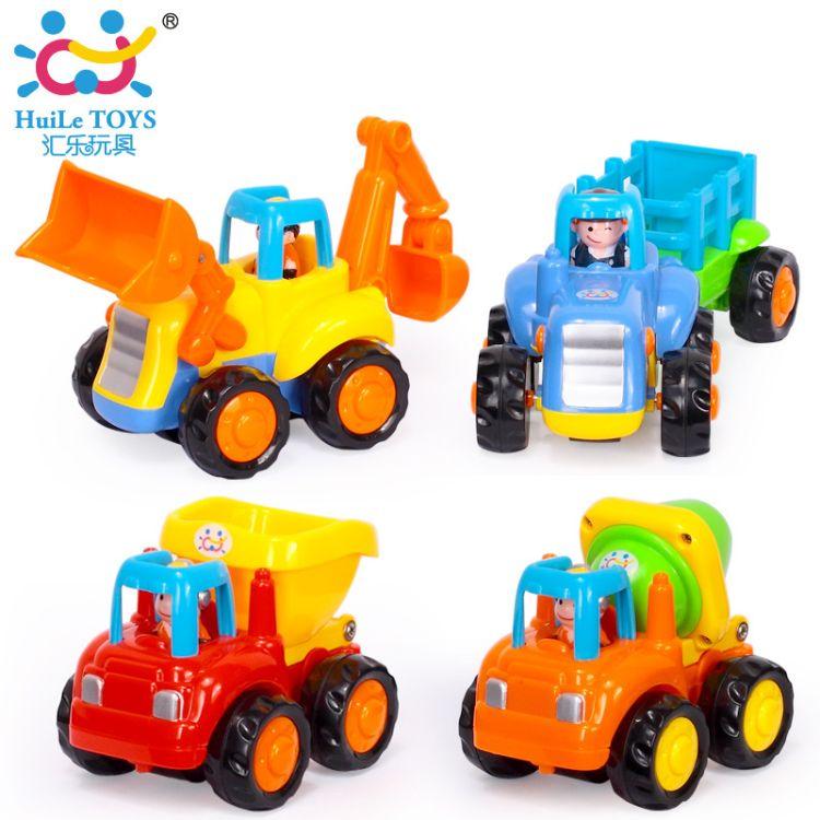 汇乐326儿童环保趣味热卖玩具惯性车益智拼装快乐工程队