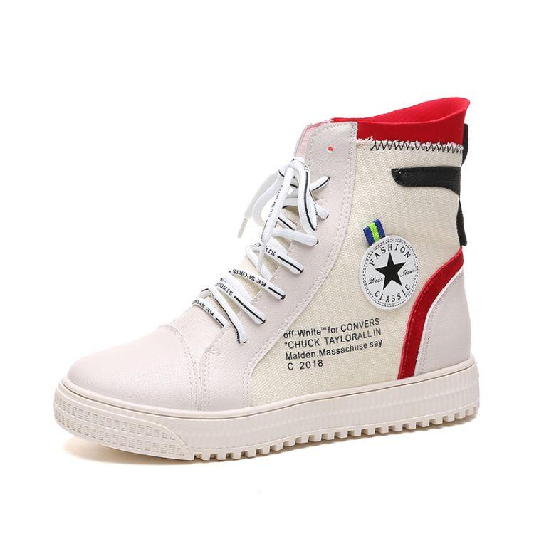 女鞋2018新款女秋季百搭街舞帆布鞋网红女鞋运动高帮板鞋一件代发