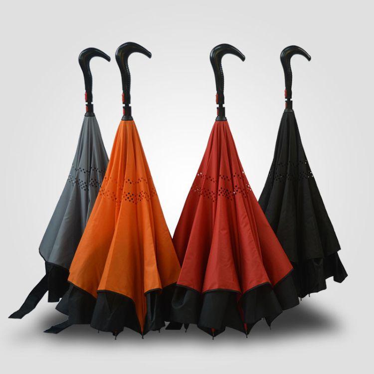 2018年雨伞新款 时尚简约自动开收反向伞  反向拐杖伞昌吉知悉