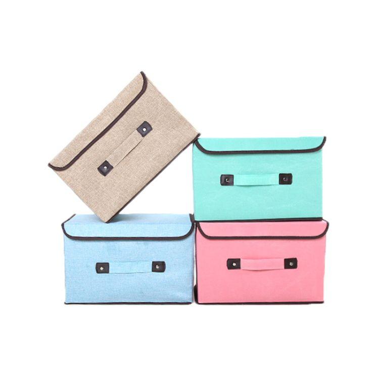 康艺厂家直销 19新款家居用品棉麻折叠布艺收纳箱 大小号一件代发卡通玩具收纳盒