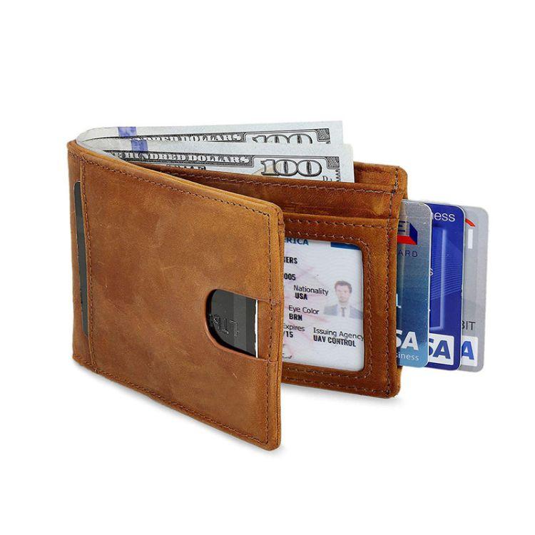 批发真皮双折叠超薄卡包定制男士钱包极前口袋多卡位卡套皮夹