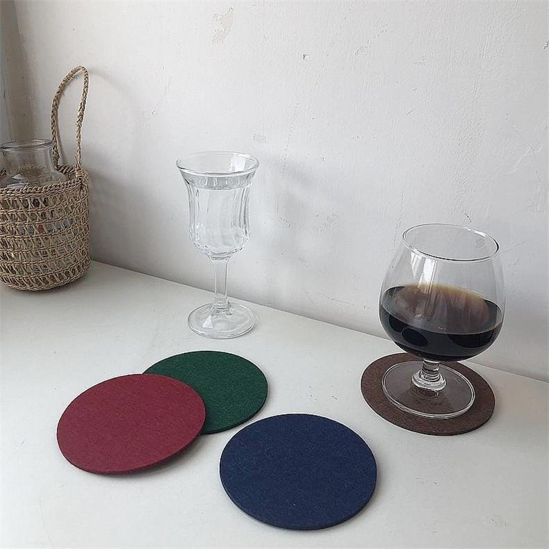北欧极简风毛毡杯垫爆款冷色调不规则艺术造型隔热垫家居装饰餐垫