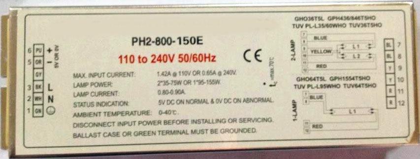 海仪通伟PH2-800-2/75U一拖二电子镇流器120~150W紫外线灯用