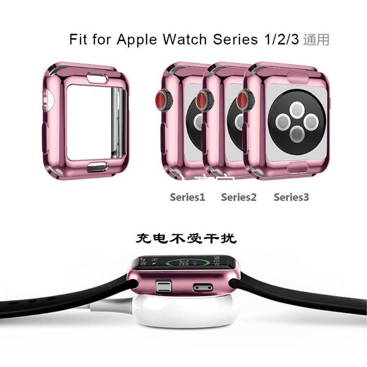 苹果手表3代表壳适用于apple watch 三代防摔TPU电镀手表保护壳