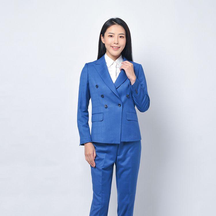 厂家成都 职业装女正装韩版西服西装 蓝色高档西服定制订做