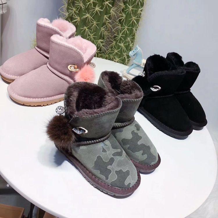2018新款皮毛一体雪地靴女式防滑棉靴加厚亲子雪地靴真皮女鞋批发