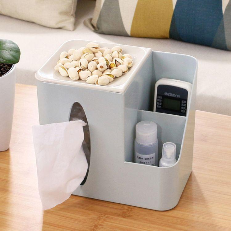 客厅办公室多功能纸巾盒收纳盒抽纸盒创意家居办公用品厂家直销礼品纸巾盒批发