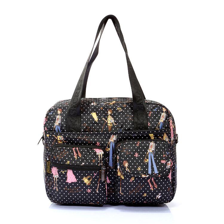 一件代发防水 妈咪包单肩 减龄印花手提包休闲单肩斜跨包妈妈包潮