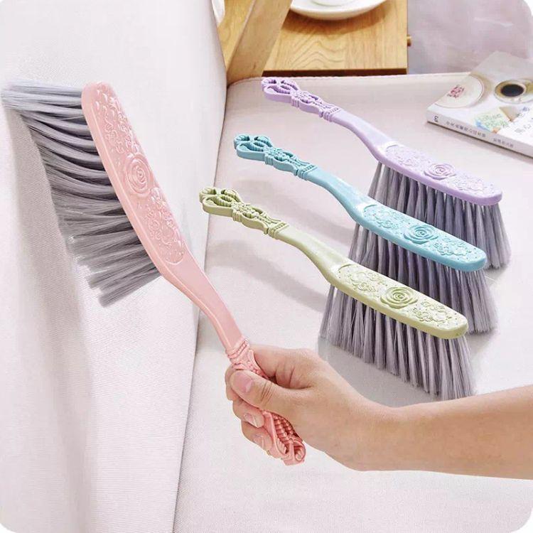 家务清洁长柄素色塑料床刷家庭防尘除皱整铺扫帚扫床单软毛清洁刷
