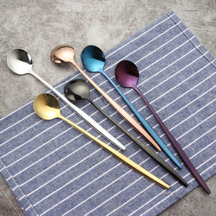 不锈钢搅拌勺 时尚多颜色不锈钢冰勺 咖啡高脚杯搅拌蜂蜜勺