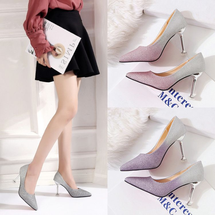 春秋新款性感细跟高跟鞋尖头浅口时尚亮片宴会婚鞋女单鞋批发代发