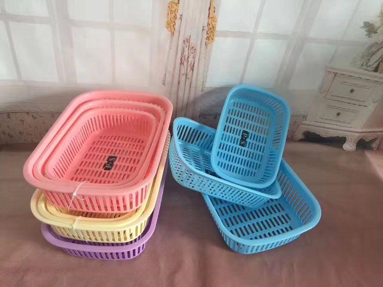 塑料加厚成套方框收纳储物篮 厨房洗菜置物篮 多功能沥水框