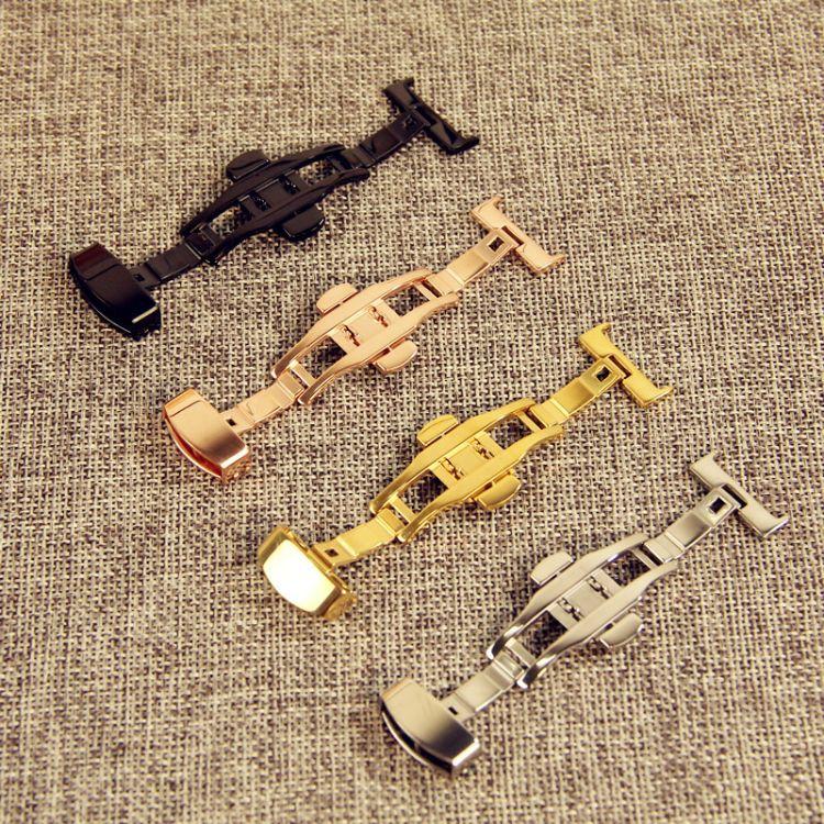 厂家直销双按自动弹表带扣 不锈钢304皮带表扣蝴蝶金色12 14 24mm