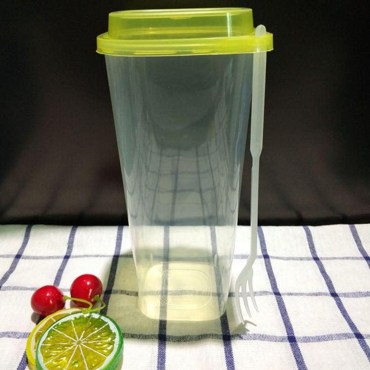 四方杯厂家批发 一次性方形杯带盖杯子 PP加厚高透注塑杯可印LOGO
