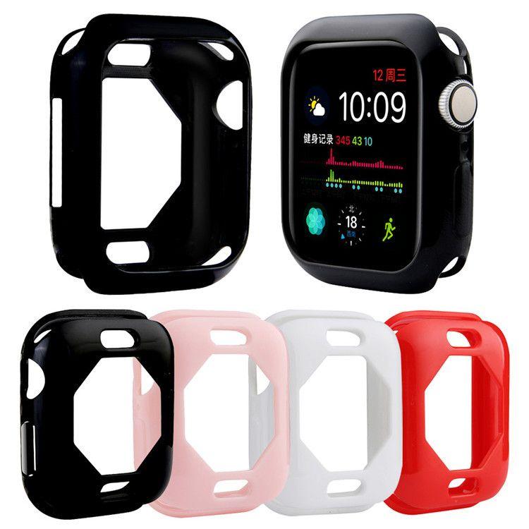 适用于苹果手表 iWatch 4代 单色亮面实色tpu镂空保护壳40mm/44mm